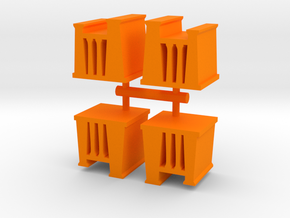 Game Piece, Egypt Temple, 4-set in Orange Strong & Flexible Polished