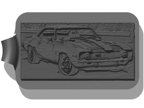 Camaro 67 Z28 Background Key Fob in Black Strong & Flexible