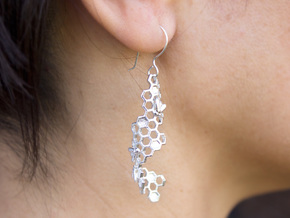 Bees and Honeycomb Earrings in Raw Silver