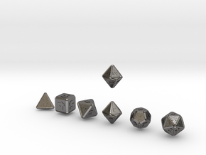 FUTURISTIC Outie Double Bevels dice in Polished Nickel Steel