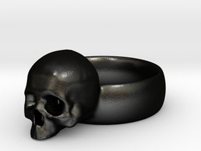 Skull Ring in Matte Black Steel
