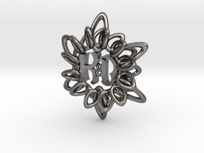 Initial Flower KB in Polished Nickel Steel