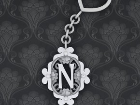 N Keychain Art Nouveau in White Strong & Flexible