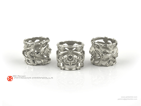 Ring Pulsar 7 - Abstract modern thick detailed in Polished Silver