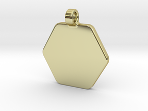 Your embossed pendant, hexagonal, 25mm. in 18k Gold Plated