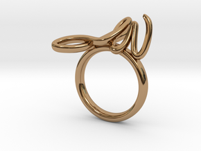 Rising Initials Ring (CUSTOM) in Polished Brass