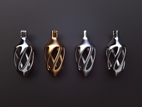 Twisted spindle pendant in Polished Silver