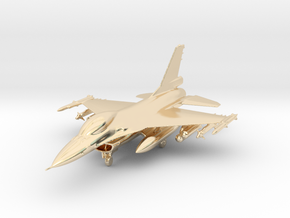 F-16 Fighting Falcon Jet Gold & Precious materials in 14k Gold Plated