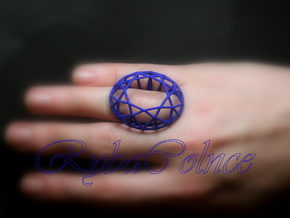 Ring The Diamond / size 6 US (16,5 mm) in Blue Strong & Flexible Polished