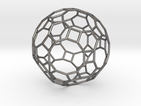 0283 Great Rhombicosidodecahedron E (a=1cm) #001 in Polished Nickel Steel