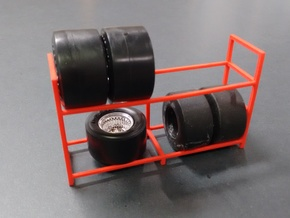 Tire Storage Rack 1/24 - 1/25 Scale Diorama in Red Strong & Flexible Polished
