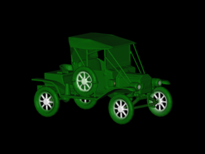 Replica Clasic Car Ford 1913 T12 by Space 3D in Green Strong & Flexible Polished