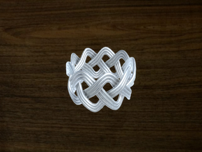 Turk's Head Knot Ring 3 Part X 9 Bight - Size 7 in White Strong & Flexible