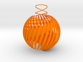 Semi-open christmas ball thick in Orange Strong & Flexible Polished