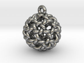 Icosidodeca Knot Earring in Raw Silver