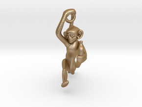 3D-Monkeys 237 in Matte Gold Steel