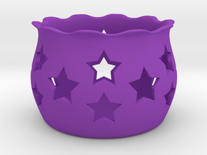 Tea Light Holder Star in Purple Strong & Flexible Polished