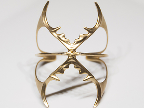 Double Stag Bangle in Raw Brass
