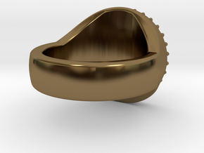 Gear Anti-Signet Ring in Polished Bronze