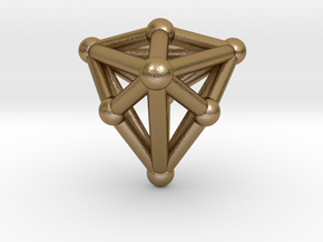 0338 Triakis Tetrahedron V&E (a=1cm) #002 in Polished Gold Steel