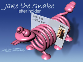 Jake the Snake letter holder in White Strong & Flexible