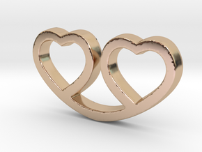 Two Hearts Together Pendant - Amour Collection in 14k Rose Gold Plated