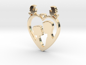 Two in a Heart with Doves V1 Pendant - Amour in 14k Gold Plated
