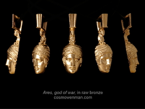 Ares, god of war, pendant in Raw Bronze