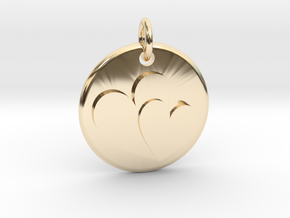 Two hearts pendant in 14k Gold Plated