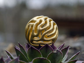 Reaction diffusion Pendant in Polished Gold Steel