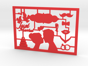 CARTA just married greeting card in Red Strong & Flexible Polished