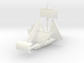 1/1000 Fan Sail Ship in White Strong & Flexible Polished