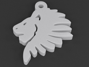 Lionhead Pendant in White Strong & Flexible Polished