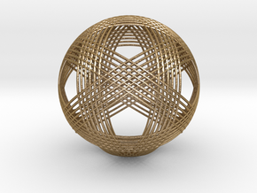 Icosahedron vertex symmetry weave 2 in Polished Gold Steel