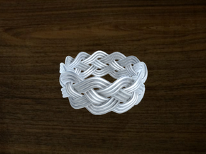 Turk's Head Knot Ring 4 Part X 11 Bight - Size 13. in White Strong & Flexible