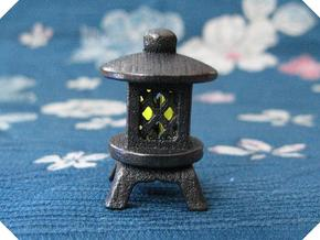 Japanese Stone Lantern A: Tritium (All Materials) in Polished Grey Steel
