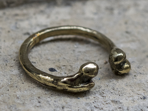Bone adjustable Ring (Man size) in Polished Brass