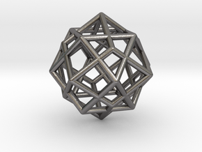 0492 Cuboctahedron + Dual in Polished Nickel Steel