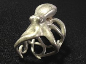 Octopus Ring 17mm in Raw Silver