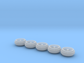 1/64 Pickup Truck Rims 80s Style 1 Set in Frosted Ultra Detail