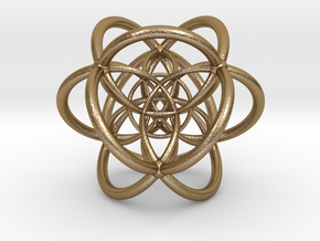 0502 Stereographic Polychora - 24 Cell in Polished Gold Steel