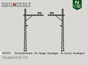 8x Streckenmast (Oberleitung Epoche I - N 1:160) in Frosted Ultra Detail
