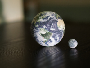 Earth & Moon to scale in Full Color Sandstone