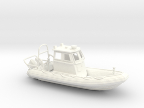 RIB Zodiac hurricane. 1:64 Scale  in White Strong & Flexible Polished
