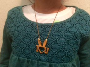 I Heart You Bunny pendant in Polished Gold Steel