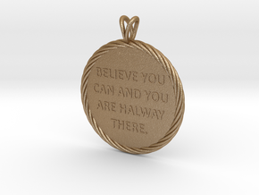 Believe you can | Quote Necklace, Pendant in Matte Gold Steel