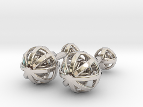 Spheres Cufflinks in Rhodium Plated