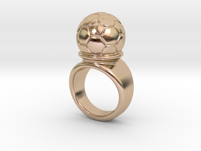 Soccer Ball Ring 32 - Italian Size 32 in 14k Rose Gold Plated