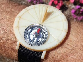 27.75°N Sundial Wristwatch For Working Compass in White Acrylic