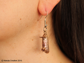 Unna the Nudibranch Pendant & Earrings (Sea Bunny) in Raw Bronze